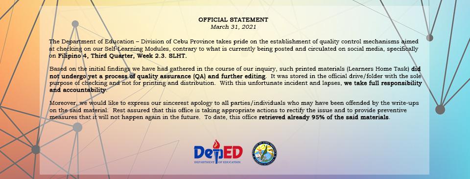 Official Statement on SHLT